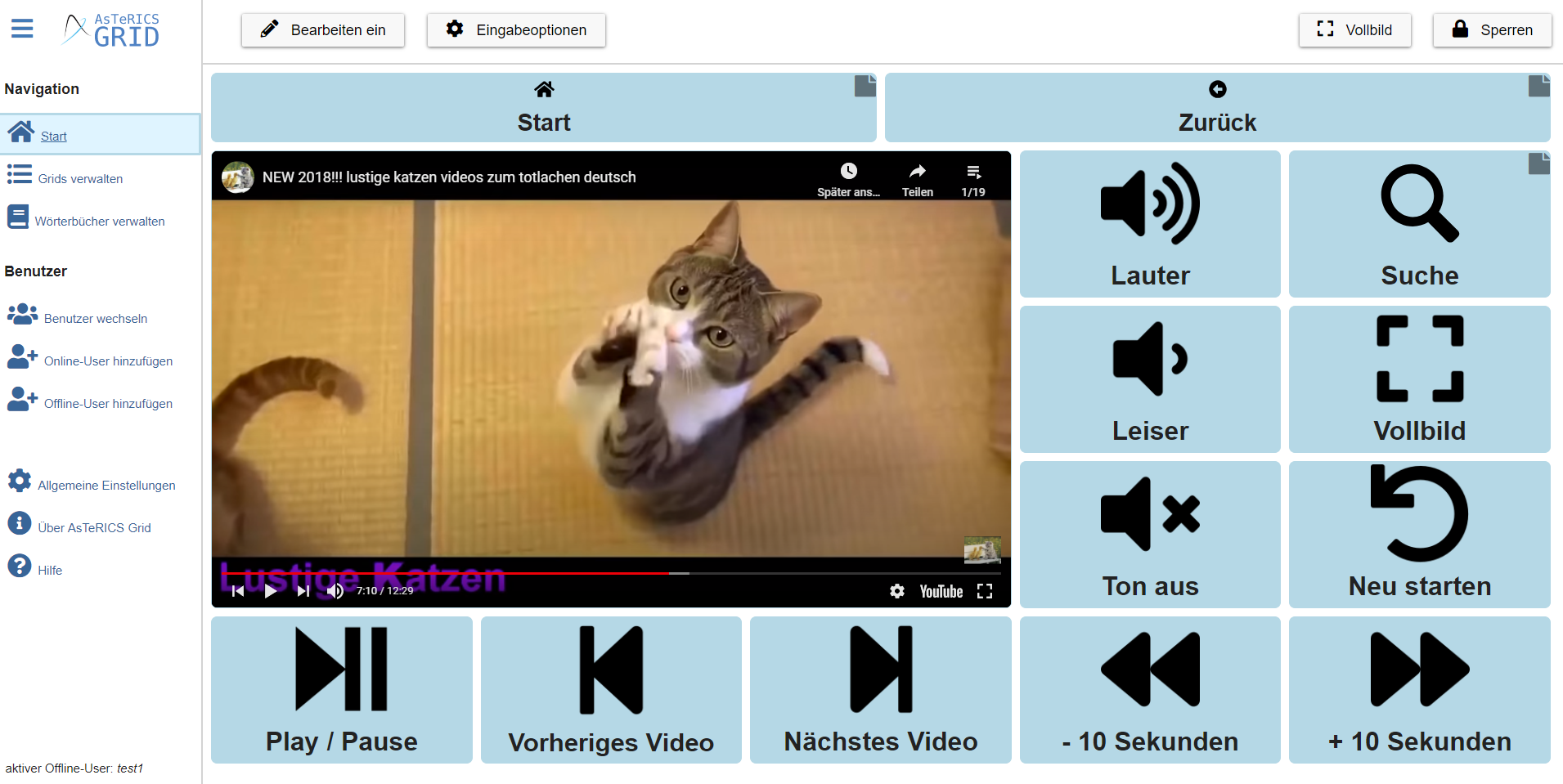 Screenshot 2: YouTube interface in AsTeRICS Grid