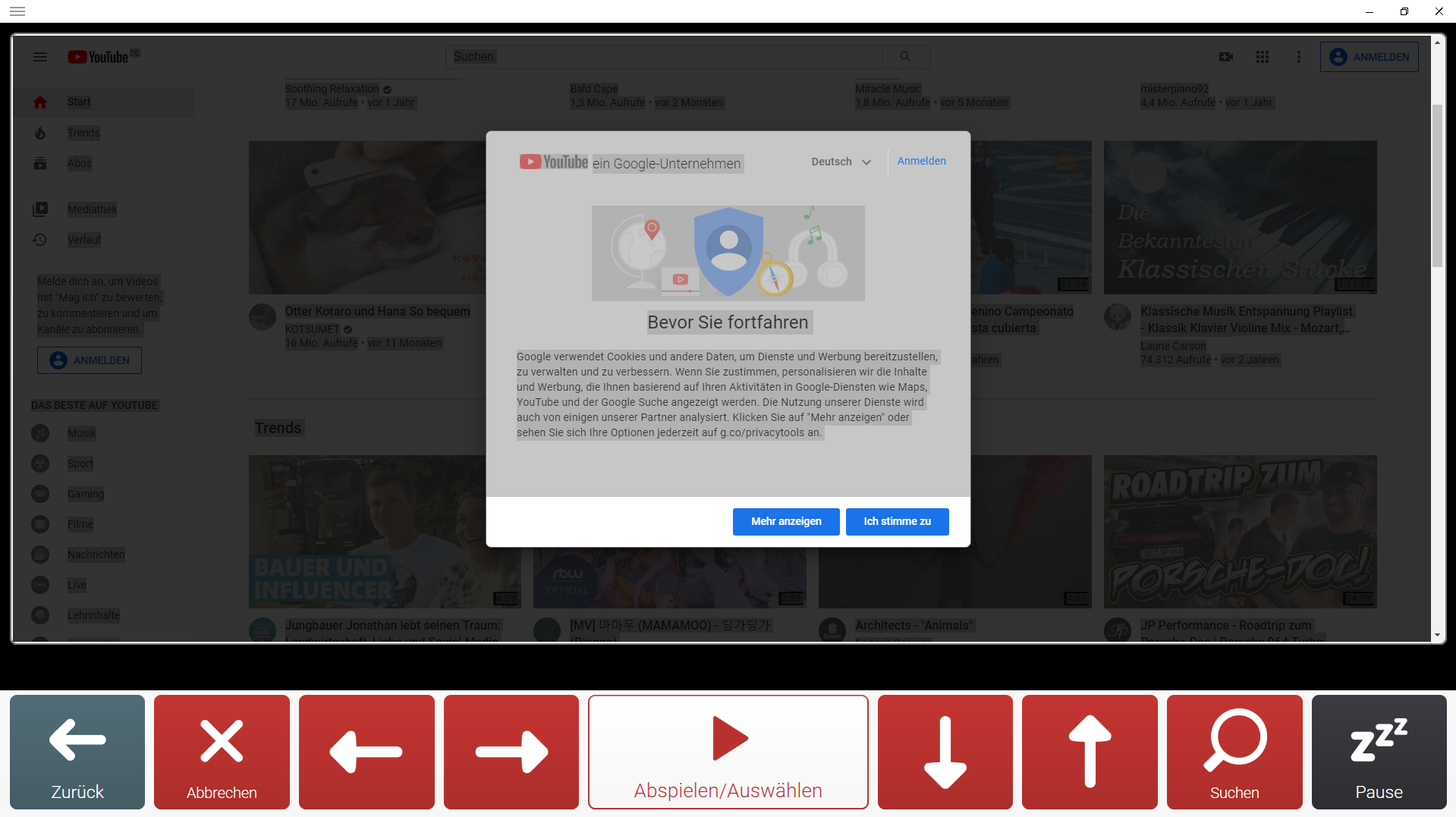 Screenshot 1: YouTube interface in Grid 3 from Smartbox